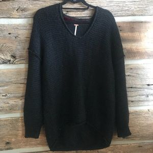 Free People cozy black sweater v neck